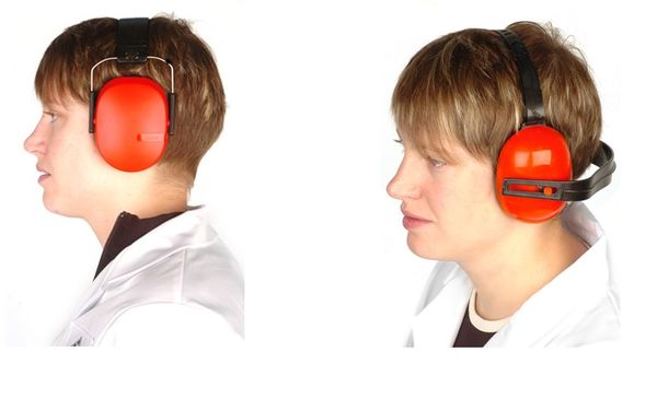 Figure 1: Earmuffs worn with band over the head, and behind the neck with supporting head band